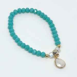 Turquoise Crystal & Pearl Charm Bracelet